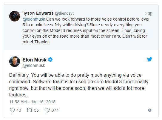 马斯克:增强的语音命令功能将出现在Model 3中